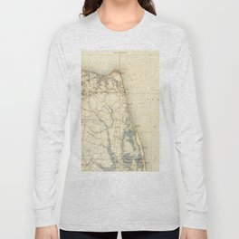 Vintage Map of Norfolk and Virginia Beach (1891) Long Sleeve T-shirt