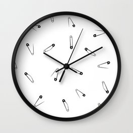 Black and white clothes pin pattern Wall Clock