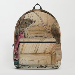 Cute little mice gather around Backpack