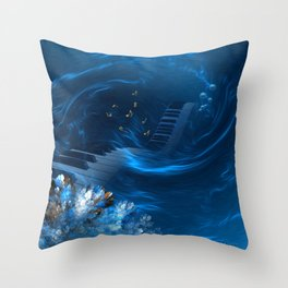 Blue coral melody  Throw Pillow