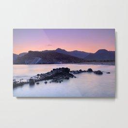 Half Moon Beach. Purple Sunset At The Mountains Metal Print