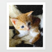 kitten Art Prints featuring Kitten  by Christine baessler