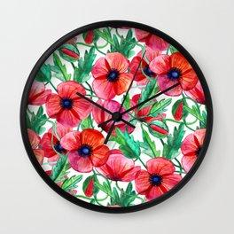 Plenty of Poppies - white Wall Clock