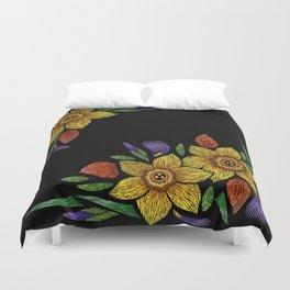 Embroidered Flowers on Black Corner 05 Duvet Cover