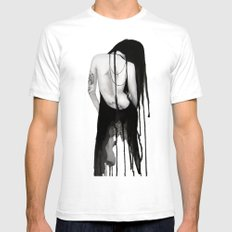Noir White SMALL Mens Fitted Tee