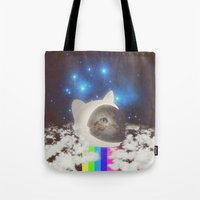 space cat Tote Bags featuring Space Cat by omgcatz