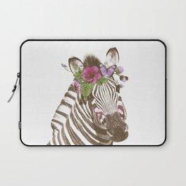 Zebra with flowers Laptop Sleeve