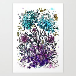 Purple floral watercolor abstraction Art Print