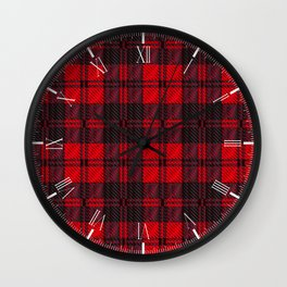 Dark Red Tartan Wall Clock