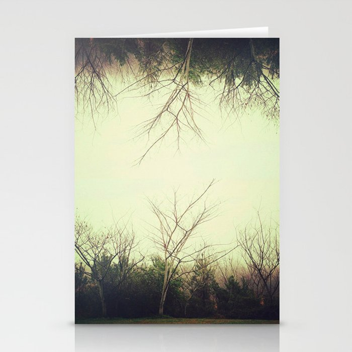Green trees.  Stationery Cards