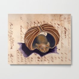 Vintage Netsuke Bat in Gouache Metal Print