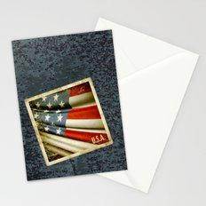 Grunge sticker of United States flag Stationery Cards