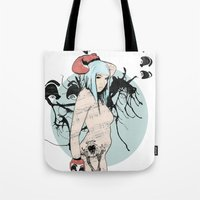 boxer Tote Bags featuring boxer by Natasha Aldred