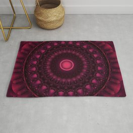 Red mandala with pink gems Rug