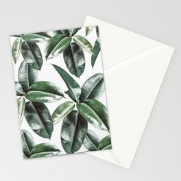 Tropical Leaves Pattern | Dark Green Leaves Photography Stationery Cards