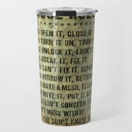 House rules on aged vintage retro looking parchment patina Travel Mug