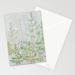Pine forest on weathered wood Stationery Cards