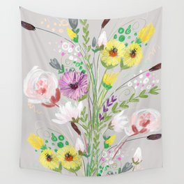 Floral On Icy Grey Wall Tapestry