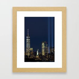 Lady Liberty, The Freedom Tower & Memorial Lights Framed Art Print