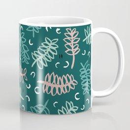 Botanical garden palm leaf teal winter pattern Coffee Mug