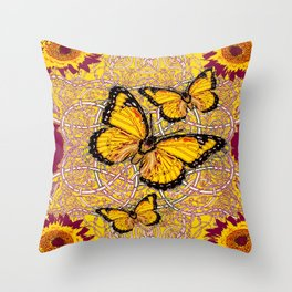 Yellow Monarch Butterflies Burgundy Floral Fantasy Throw Pillow