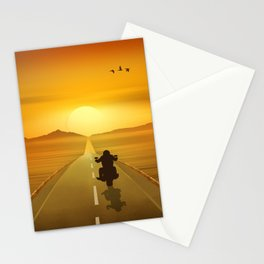 Biker On Route 66 Stationery Cards