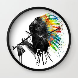 Indian Silhouette With Colorful Headdress Wall Clock