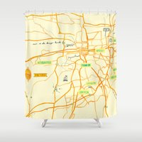 maps Shower Curtains featuring Maps - Pretoria by DRIEHOEK