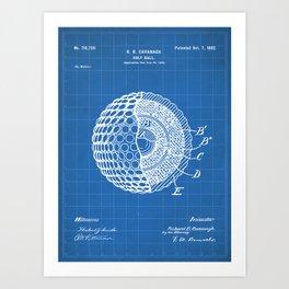 Golf Ball Patent - Golfer Art - Blueprint Art Print