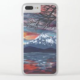 Snowy Mountains Over Lake Clear iPhone Case