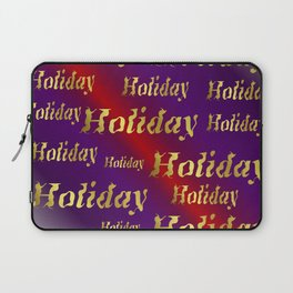 golden holiday text in red and purple metal Laptop Sleeve