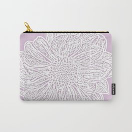 Single White Dahlia Lino Cut, Primrose Pink Carry-All Pouch