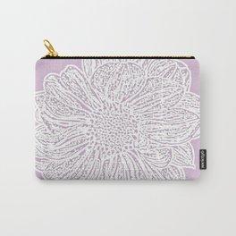 Single White Dahlia Lino Cut, Primrose Pink Carry-All Pouch