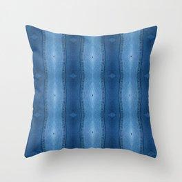 Denim Diamond Waves vertical patten Throw Pillow