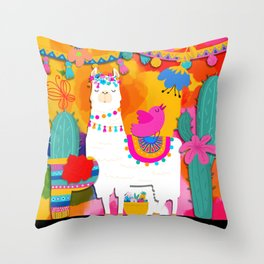 Fiesta Llama Throw Pillow