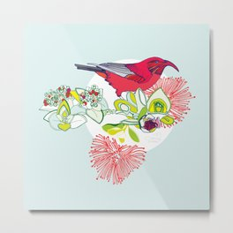 Red Ohia Lehua and Iwi Bird Metal Print