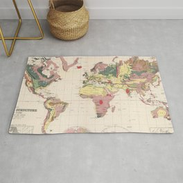 Vintage Geological Map of The World (1856) Rug