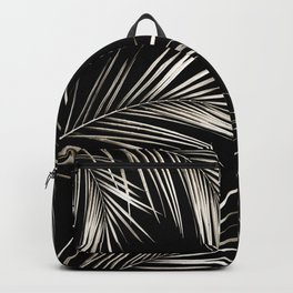 White Gold Palm Leaves on Black Backpack