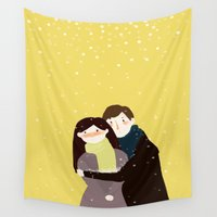 hug Wall Tapestries featuring Hug  by wisdomspreader
