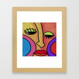 Funky Abstract Face Digital Painting Framed Art Print