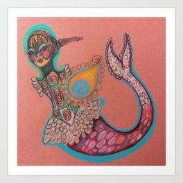 indian goddess mermaid Art Print