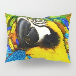 Gold and Blue Macaw Parrot Fantasy Pillow Sham