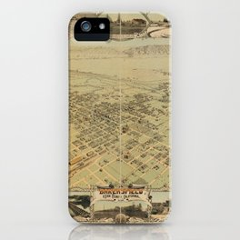 Vintage Bird's Eye Map Illustration - Bakersfield, Kern County, California (1901) iPhone Case