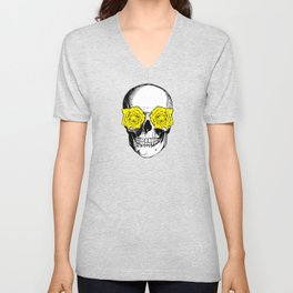Skull and Roses | Skull and Flowers | Vintage Skull | Grey and Yellow | Unisex V-Neck