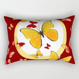 RED & YELLOW BUTTERFLIES &  YELLOW RING BURGUNDY ABSTRACT ART Rectangular Pillow