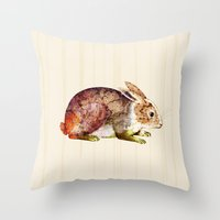 bunny Throw Pillows featuring Bunny by TatiAbaurreDesigns