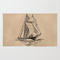 sailing Area & Throw Rugs featuring Sailing by Texnotropio