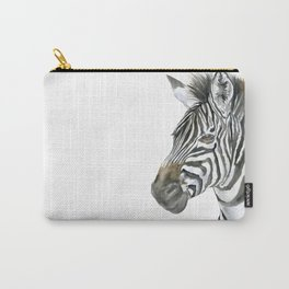 Zebra Watercolor Painting - African Animal Painting Wildlife Head Bust Carry-All Pouch