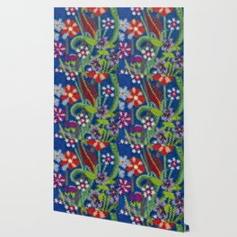Starry Floral Felted Wool, Blue Wallpaper