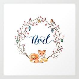 71e0d03d2867 Fox Family Holiday Wreath Art Print